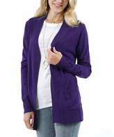 42pops 42POPS Women's Open Cardigans Purple - Grape Purple Ribbed-Hem Pocket-Front Open Cardigan - Women