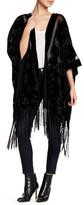 Steve Madden Velvet Burnout Star Fringe Kimono