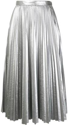 Tibi Pleated Metallic Skirt