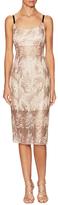 ABS by Allen Schwartz Sheer Bodice Embroidered Sheath Dress