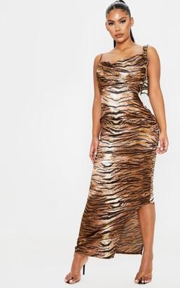 Red Label Redlabel Brown Tiger Print Satin Cowl Neck Maxi Dress