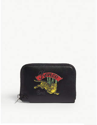 Kenzo Tiger logo leather coin purse