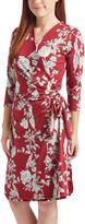 Glam Burgundy & Black Floral Wrap Dress