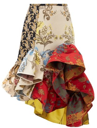 Marques Almeida Ruffled Patchwork-jacquard Upcycled-satin Skirt - Red Multi
