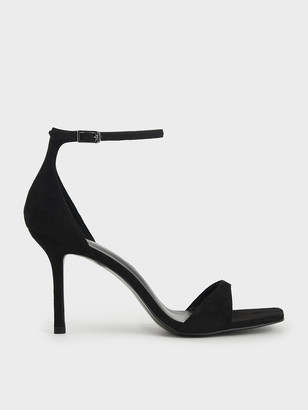 Charles & Keith Textured Ankle Strap Heeled Sandals