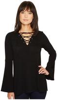 Karen Kane Lace-Up Bell Sleeve Top Women's Clothing