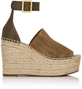 Chloé WOMEN'S SUEDE & LEATHER ESPADRILLE WEDGE SANDALS