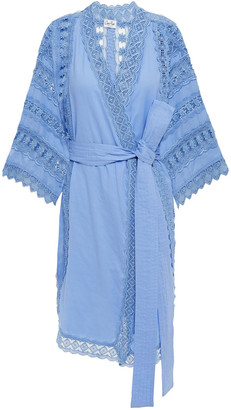 Charo Ruiz Ibiza Fusa Crocheted Lace-paneled Cotton-blend Voile Kimono