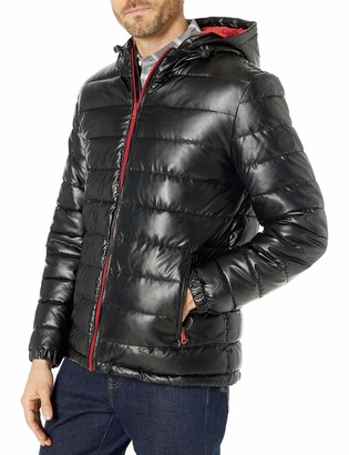 Cole Haan Men's Hooded Faux Leather Down Jacket