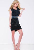 Jovani Jewel Speckled Bateau Cutout Sheath Cocktail Dress JVN41343