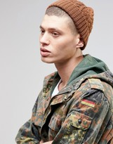 Asos Wool Mix Cable Fisherman Beanie In Tobacco