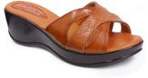 Tan Crisscross Wedge Sandal