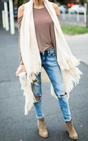 Ily Couture Ivory Fringe Sweater Vest
