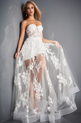 Jovani Sweetheart Sheer Floral Applique Gown