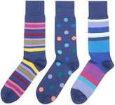 Paul Smith Men's 3 Pack Stripe And Dot Sock
