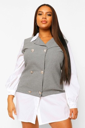 boohoo Plus Houndstooth Check Contrast Collar Shift Dress