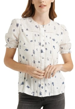 Lucky Brand Embroidered Floral-Print Top