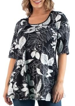 24seven Comfort Apparel Women's Plus Size Floral Top