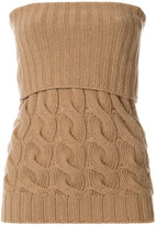 Max Mara cable-knit strapless top