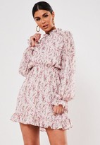 Missguided Blush Floral High Neck Skater Dress