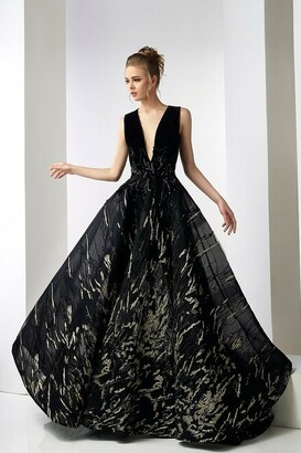 Gatti Nolli by Marwan Margaret Sleeveless V Neck Velvet Gown
