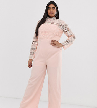 Chi Chi London Plus 2 in 1 lace high neck jumpsuit in pink