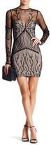 Sky Sequin Embellished Mesh Illusion Yoke Dress