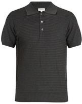 Brioni Zigzag waffle-knit cotton polo shirt