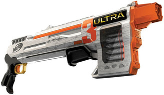 NERF Ultra Three Blaster - Pump Action Blaster with 8 Dart Internal Clip - Incl 8 Official Nerf Ultra