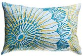 Koko Water Collection Prints and Embroidery Cotton Pillow, 13-Inch by 20-Inch, Blue/Mustard