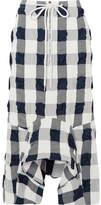 Bassike Checked Cotton-blend Seersucker Midi Skirt - Navy