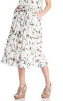 Sole Society Flower Print Button Down Midi Skirt