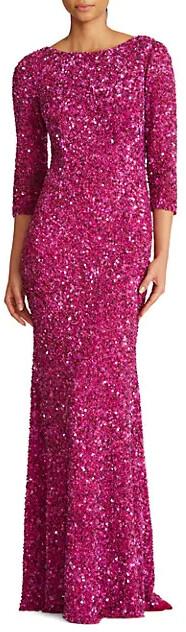 Theia Three-Quarter Sleeve Sequin Sheath Gown