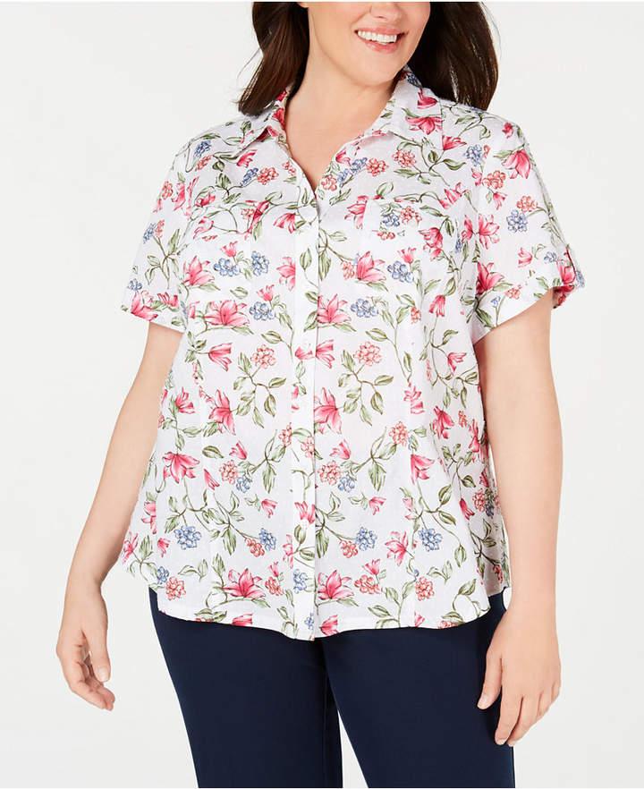 Karen Scott Plus Size Cotton Swiss-Dot Floral-Print Blouse