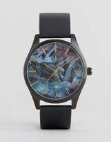Reclaimed Vintage Mountain Print Leather Watch In Black