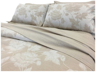Natural Comfort Yue Home Textile Yarn-Dyed Linen Cotton Duvet Cover Set, Lily, Dune, Q
