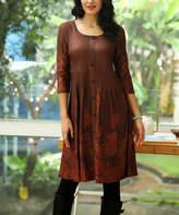 Reborn Collection Women's Casual Dresses Brown - Brown Floral Button-Up Dress - Women & Plus