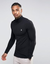 Asos Extreme Muscle Long Sleeve T-Shirt With Roll Neck With Logo In Black