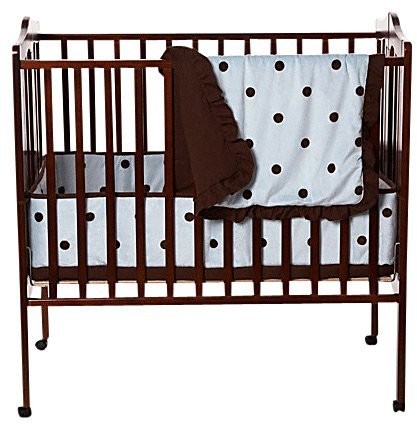 American Baby Company Port-a-Crib Set with Large Espresso Dot - 3 Pc - Blue