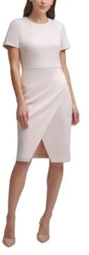 Calvin Klein Faux-Suede Faux-Wrap Sheath Dress