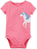 Carter's Dot-Print Unicorn Cotton Bodysuit, Baby Girls