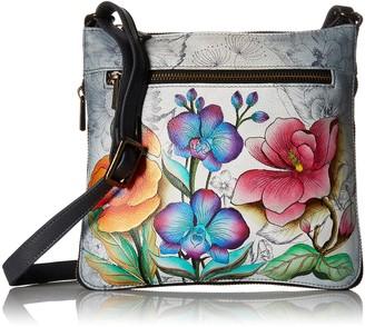 Anuschka Womens Genuine Leather Expandable Travel Crossbody - Hand Painted Original Artwork - Floral Fantasy