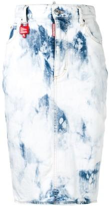DSQUARED2 Acid Wash Denim Pencil Skirt