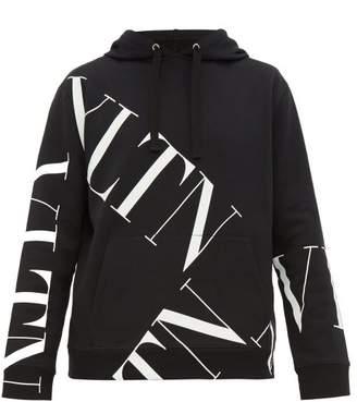 Valentino Grid Logo Print Cotton Hooded Sweatshirt - Mens - Black