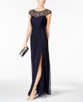 Xscape Evenings Petite Embellished Ruched Slit Gown