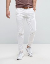 Selected Homme Slim Fit Chino With Leather Belt