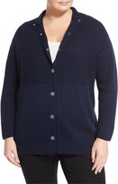 Lafayette 148 New York Ribbed Snap-Front Cardigan, Ink, Plus Size