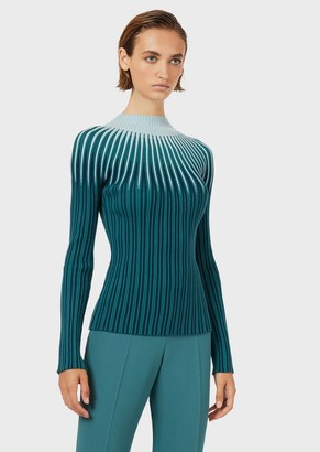 Emporio Armani Ottoman Mock-Neck Sweater With Jacquard Op-Art Motif