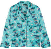 Madewell Printed Silk-satin Shirt - Turquoise