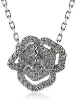 As 29 AS29 Women's 18ct White Gold Round White Diamonds and Round White Sapphires XS Pave Flower with Line Necklace of 40cm